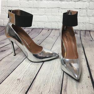 Dollhouse Platinum Pointed Toe Ankle Strap Pump